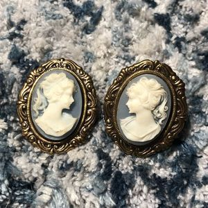 Vintage Female Cameo Portrait Clip On Earrings